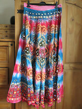 HEAVY BEADED SARI TYPE FABRIC UNFINISHED MAXI SKIRT MULTI - FOR GREYHOUND RESCUE