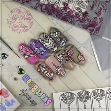 7 Sheets Stencils for Sweet Bloom Water Transfer Nail Art Stickers Decals