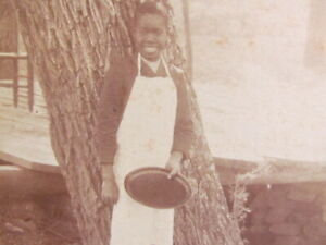 1890's Virginia African American boy kitchen help or server cabinet photograph