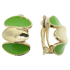 LOVELY BRAND NEW VINTAGE INSPIRED 18K GOLD PLATED GREEN ENAMEL CLIP-ON EARRINGS