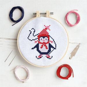 Christmas Cross Stitch Hoop Kit | Penguin Design