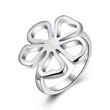 925 Silver Plt Hollow Daisy Flower Band Ring Poppy Rose Petals Clover Pansy A
