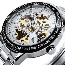 Alienwork IK mechanische Automatik Armbanduhr Skelett Automatikuhr Uhr weiss sil