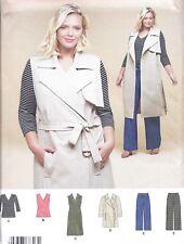Women's Long Vest Knit Top Pants Trench Coat Sewing Pattern UNCUT Plus Size