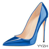 Women's Patent Leather Shoes Pointed Toe Slip On Stiletto High Heels Shoes Pumps