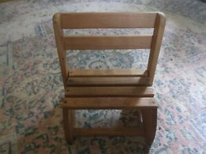 VINTAGE SOLID WOOD CHILD'S STEP STOOL CHAIR FOLDING CONVERTIBLE