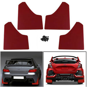 Universal Racing Car Red Mudflaps Mud Flaps Set of 4 Front & Rear Top Quality