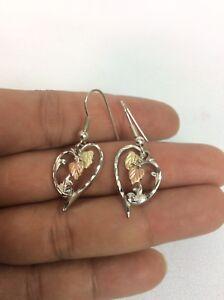 Beautiful Vtg WM Sterling Silver 925 12K Black Hill Gold Wire earrings