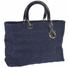 Authentic Christian Dior Lady Dior Cannage 2way Hand Bag Indigo Denim AK30266