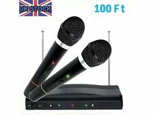 TWIN WIRELESS MICROPHONE CORDLESS SET WITH RECEIVER FOR KARAOKE DJ MIC PRO
