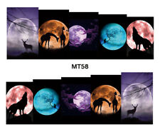 Nail Art Decals Transfers Stickers Wolf Moon (MT58)