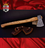 Damascus bush axe KingForge -033 American Style craft hatched head Ash haft gift
