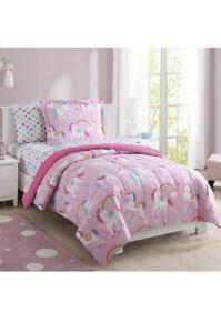 Kids Bedding Set Sheets Girls Comforter Rainbow Unicorn 5 Piece Pink Twin Size