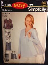 Pattern Simplicity 4540 misses' tunic top and bag tote 6-16