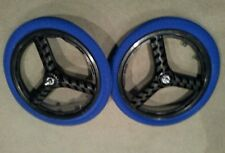 "NEW 20"" MAG WHEELS 3 SPOKE BLUE TIRES TUBES FOR GT DYNO HARO OR BMX BICYCLES"