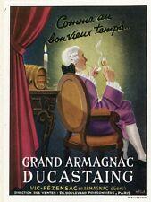 """""""GRAND ARMAGNAC DUCASTAING"""" Annonce originale entoilée  M. FAYOL1946 14x17cm"""