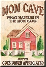 """What Happens in the Mom Cave Novelty 2"""" x 3"""" Metal Refrigerator Toolbox Magnet"""