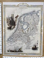 "Antique vintage old map 1800s: Holland, Netherlands: Tallis 12 X 9"" Reprint"