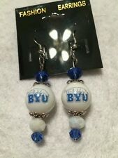 BRIGHAM YOUNG UNIVERSITY EARRINGS  BYU GLASS BEAD COLLEGE FOOTBALL BASKETBALL