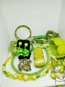 FUN JEWELRY, Green Statement Necklace and Other Jewelry, SEE DESCRIPTION