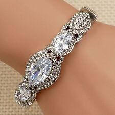 Rhodium Plated Clear Cubic Zirconia Crystal Rhinestone Bangle Cuff Bracelet 0197