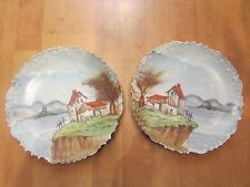 2 anciennes assiettes decoratives porcelaine peinte decor maison bord de lac