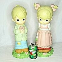 """Precious Moments Boy Girl Statues Figurines 17"""" Couple 2718 2719 Tall Vintage"""