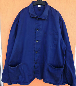 Vintage French Work Jacket Chore Boho Blue Sz XL Made in Germany