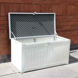 150L Outdoor Garden Storage Box Chest Cushion Equipment Lid Shed polypropylene