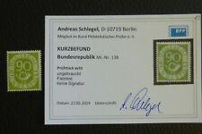 BRD/Bund POSTHORN Michel-Nr.: 138 (90 Pf) KURZBEFUND Schlegel BPP