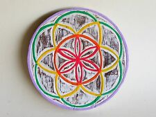Wooden Hand Made & Painted Shabby Chic Flower Of Life Plaque 25cm.....