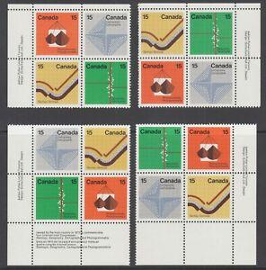 Canada Uni 585a MNH. 1972 15c Earth Sciences, Matched Corner Imprint Blocks