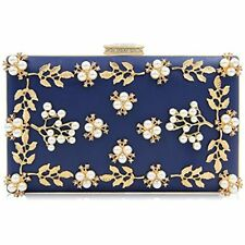 Women Clutches Pearls Evening Bag Purse Bags (Navy Blue)
