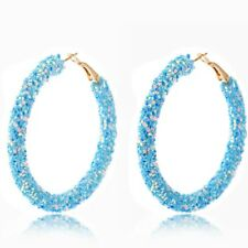 Crushed Sequins & Crystal Encrusted Hoops in Glittering Turquoise Blue Metallic