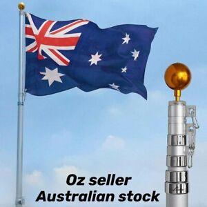 7.2m Aluminum Telescoping Flagpole Australian Flag Pole Top Ball Flag Kit