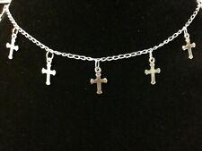"""Anklet Cross Bracelet 740-2047 F117-#1612 Solid Sterling Silver 925, 10"""""""