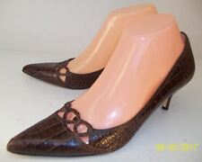 80c5946f32c Enzo Angiolini SAVONA Womens Shoes US 7M Brown Leather Snake Print Work  Pumps