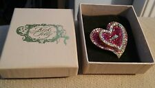 "Kirks Folly 3D ""Full Of Love"" Pink Crystals Heart brooch pin  NWT In box"