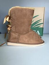 Itasca Isabella Brown Microsuede Faux Fur Slipper Boots Womens Size 7