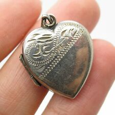 Antq Birmingham England 925 Sterling Silver Heart Locket Pendant