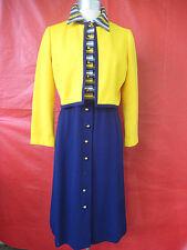 Vtg Knit Dress & Jacket Striped Top Solid bottom Abe Shrader by Belle Saunders