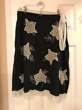 Anthropologie Odille Roses Applique  Skirt Black and Cream Sz 6 Romantic