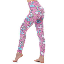 Unicorn Leggings Women Pink Yoga Fitness Sexy High Waist Sports Pants Trousers