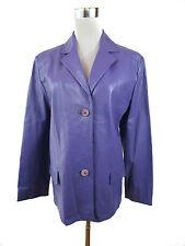 LUCA DA PONTE Womens Vtg Designer Fashion Leather Purple Blazer Jacket sz M J51