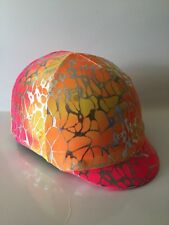 Horse Helmet Cover Orange And Yellow With Silver Overlay Lycra AUSTRALIAN  MADE