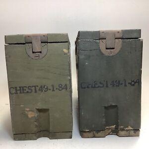 Two Vintage Wood Military Wood Ammo Boxes WW1 Era