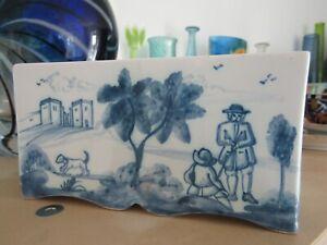 "Deborah Sears Isis Ceramics Tin Glazed Blue + White 'Landscape' Flower Brick 5"""