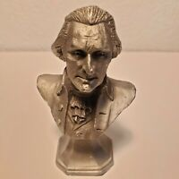 """President Thomas Jefferson Pewter Bust paperweight 3.5"""" desk accessory"""