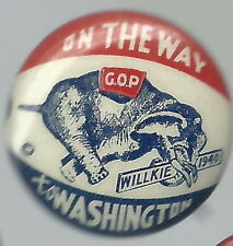 CLASSIC, WENDELL WILLKIE CHARGING ELEPHANT PIN