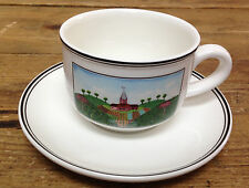 "Naif Villeroy Boch Country Design Laplau 1 Cup Saucer Set Flat Farm Scene 2 3/8"""